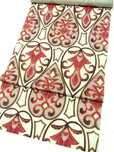 型紙染更紗柄9寸帯